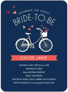 Bridal Bicycle - Signature White Bridal Shower Invitations - Petite Alma - Stormy Blue - Blue : Front