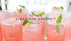 5 Signature Cocktail Recipes You Need to Try. Photography: Carrie Rodman Photography. View here: http://www.insideweddings.com/news/planning-design/5-signature-cocktail-recipes-you-need-to-try/2009/