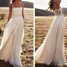 White A-Line Spaghetti Straps Sleeveless Natural Zipper Floor-Length Chiffon Prom Dresses by Okbridal, $143.00 USD