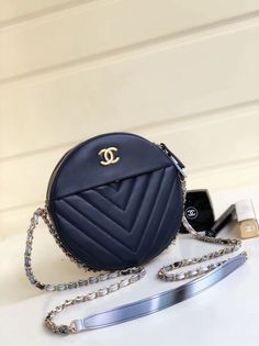 936909aa137b Chanel Chevron Leather Round Evening Shoulder Bag Navy Blue 2018  #eveningbagsforsale