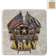 US Army 2 Flag Marble Coaster