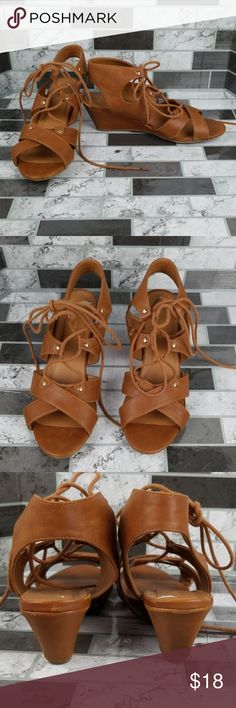 a1b63ee1830 City Classified Wedges Sandals City classified strappy lace up cognac wedge  sandals.   Condition  Pre-Owned   OFFERS are always welcome and we ship  same or ...