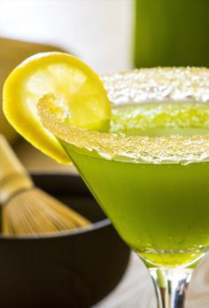 Matcha Lemon Drop Martini - It's tea'o clock! The beautiful color and grassy notes of Sweet Matcha meld perfectly with lemon for this sweet & lightly sour martini. Add the final touch of elegance with a lemon wheel.