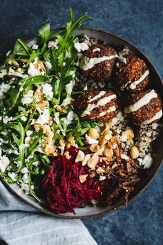 Gluten-Free Butternut Squash Falafel Salad Bowls with Pickled Beets