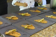 Charred leeks on romesco prepared by chef Mark Stark. #foodie #cooking