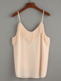 SheIn offers Apricot Fringe Trim Chiffon Cami Top & more to fit your fashionable needs. Chiffon Cami Tops, Lace Tops, Casual Outfits, Cute Outfits, Fashion Outfits, Hot Summer Outfits, Blouses For Women, T Shirts For Women, Fringe Fashion