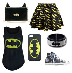 """""""Batman"""" by girlybunny ❤ liked on Polyvore featuring Converse"""