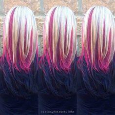 Pink hair peek a boo