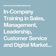 In-Company Training in Sales, Management, Leadership, Customer Service and Digital Marketing with Professional Academy