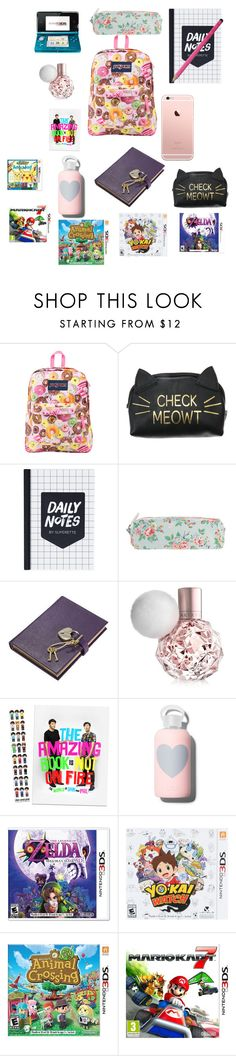 """""""What's in my bag"""" by phan-style ❤ liked on Polyvore featuring JanSport, Bage, Cath Kidston, Graphic Image, bkr and Nintendo"""