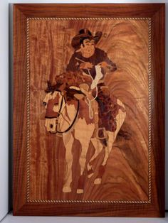marquetry with cowboys\   back to this project so here is my new beginning dad did sign this one ... (vintage Russell M Blood)