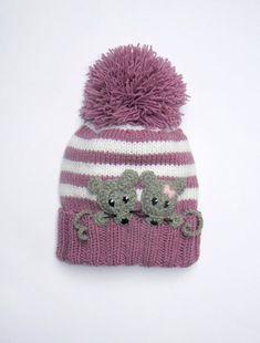 Knit Kids Hat with MICE, Pom P