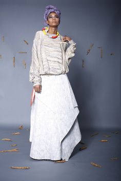 "Look Bamboo Knit Sweater With Raffia Embroidery worn with bonded linen wrap skirt with raffia embroidered belt. ""M'ba M'etta"" Thesis Collection by Nyorh Agwe Editorial, Dressed To The Nines, African Design, African Dress, Modern Fashion, African Fashion, Boho Chic, Lace Skirt, Style Inspiration"