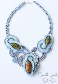 Shades of Blue/ Grey/ Green Handmade soutache necklace with czech glass beads