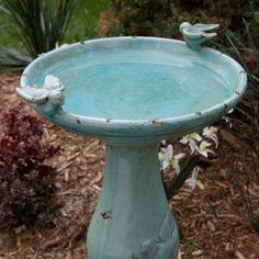 Alpine Antique Light Turquoise Ceramic Bird Bath with 2 Birds - Bird Baths at Hayneedle