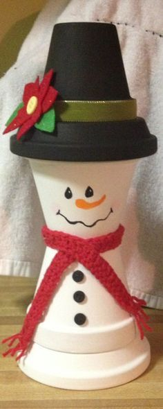 Snowman clay pot
