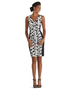 While all black at a military wedding is a no-no, the black and white combo works and gives this dress an edge. Modern accessories will keep it a bit rock-n-roll. White House | Black Market Instantly Slimming Ruched Floral Dress