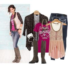 """Buckle style: Daytrip Aztec cardigan, Society Tee, Gimmicks vest, Naughty Monkey boots and Silver jeans skinny Aiko jeans """"Fall/winter outfit"""" by karen-bachman on Polyvore"""