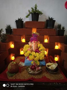 Top 65 Creative Ganpati Decoration Ideas For Home That You Should Try Gauri Decoration, Mandir Decoration, Diya Decoration Ideas, Diwali Decorations At Home, Ganapati Decoration, Balloon Decorations, Decor Ideas, Flower Decoration For Ganpati, Eco Friendly Ganpati Decoration