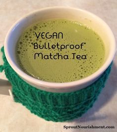 """""""Bulletproof"""" coffee is all the craze! But have you ever heard of """"Bulletproof Matcha Tea"""" It's a vegan and less acidic way to enjoy the benefits of a high fat/keto-adapted diet! Just replace the coffee with Matcha Tea and skip the Ghee!"""