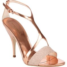 Narciso Rodriguez Harness T-strap Sandals in blush salmon-skin and metallic rose gold leather