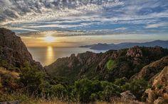 Descargar fondos de pantalla Córcega, Isla, mar, puesta de sol, las montañas, la costa, el Mar Mediterráneo, Piana, Francia