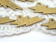 4- Lightning Bolt Charms Vintage Gold 1 Inch Bolt of Lightning Weather Pendant Diy Jewelry Supplies INV0477 by BuyDiy on Etsy