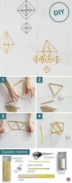 "Add dorm room flair with a fun, geo mobile. Step 1: Secure one end of twine with a clip and tie the other end around a pipe cleaner to form a ""needle"". Step 2: Cut straws in half; thread 3 on the twine, forming a triangle. Loop to secure. Step 3: Thread on 2 more straws, form a triangle, loop it off. Repeat until you're out of straws, leaving the last straw detached. Step 4: Remove clip and tie the 2 ends together. Trim the excess twine and thread back through the first straw and tie…"
