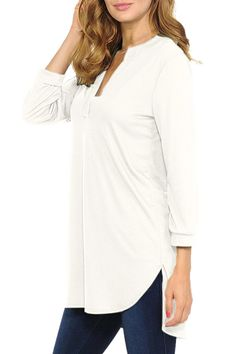 3/4 Sleeve V Neck High Low Plain Tunic Blouse White #Sponsored #High, #Neck, #Sleeve, #Plain Tunic Blouse, Tunic Tops, Bridesmaid Jewelry Sets, High Low, V Neck, Sleeves, Women, Fashion, Moda