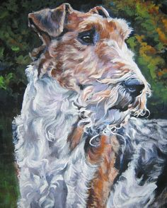 wire fox Terrier art print CANVAS print of LA by TheDogLover, $19.99
