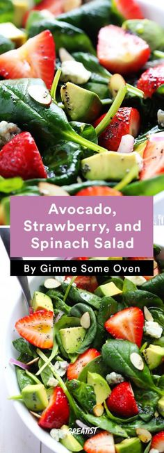 Healthy Avocado Recipes - Avocado Strawberry and Spinach Salad - Easy Clean Eating Recipes for Break Summer Salad Recipes, Healthy Salad Recipes, Healthy Snacks, Vegetarian Recipes, Healthy Eating, Spinach Salad Recipes, Keto Recipes, Dinner Salads Healthy, Easy Summer Salads