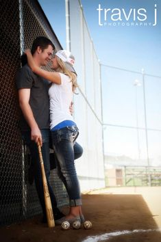 Baseball field engagement photo, Travis J Photography, Colorado Wedding