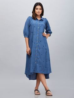 The Loom- An online Shop for Exclusive Handcrafted products comprising of Apparel, Sarees, Jewelry, Footwears & Home decor. Kurti Patterns, Blouse Patterns, Modest Fashion, Fashion Dresses, Stylish Tops For Women, Khadi Kurta, Indigo Dress, Striped Linen, Indian Designer Wear