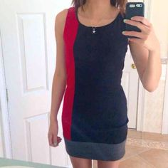 Black/Red/Gray Colorblocked Bodycon Dress Side zip, never worn, fits like a small Dresses Mini