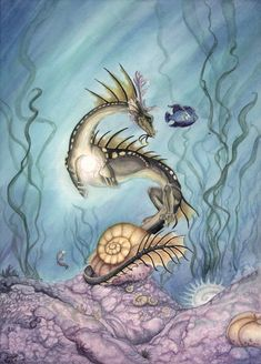 Pearl of the Dragon by Fanny (DeviantArt) Water Dragon, Sea Dragon, Dragon Art, Dragon Bones, Fantasy Dragon, Fantasy Warrior, Fantasy Art, Fantasy Creatures, Mythical Creatures