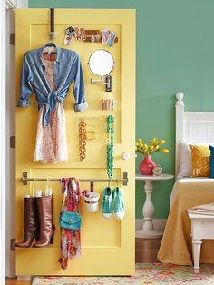 Behind the Door Storage - Use a combination of hooks and bars to organize jewelry, tomorrow's outfit, or accessories. Use the back of a catchall closet for gift-wrap storage, or enlist a pantry door to keep spices and aprons at the ready.