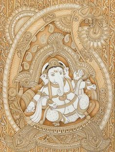 Images of Lord Ganesha: In a Paisley The Paisley motif (also called boteh) is an auspicious symbol of the Goddess. Here the artist has shown Shri Ganesha in the womb of the Goddess. Mysore Painting, Kalamkari Painting, Tanjore Painting, Ganesha Drawing, Ganesha Painting, Ganesha Art, Shiva Art, Lord Ganesha, Shri Ganesh