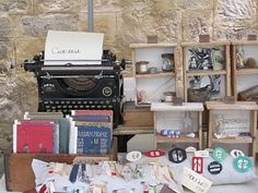 Craft Fair Display using a vintage typewriter as a conversation-starter!