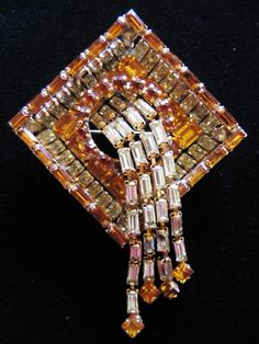 Vintage Stair Step Amber and Clear Rhinestone Waterfall Pin Brooch from Vintage Jewelry Lounge Exclusively on Ruby Lane