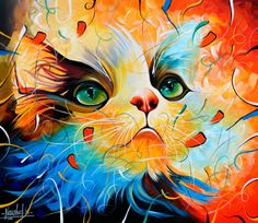 ARTFINDER: Cat Masters-26 (Limited Edition GICLÉ... by Naushad Waheed - ORIGINAL LIMITED EDITION GICLÉE PRINTS The original Painting of these prints measures approximately 24 X 28 inches.   This Colourful Limited Edition print...