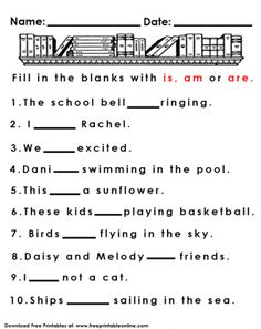 Is Am and Are Kids Worksheet
