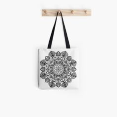 Black Mandala Pattern - Just Let Go Tote Bag Large Bags, Small Bags, Mandala Pattern, Medium Bags, Cotton Tote Bags, Chiffon Tops, Are You The One, Letting Go, Shoulder Bag