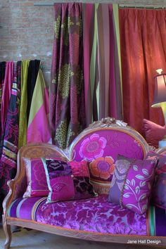 Victorian Settee Upholstered in Designers Guild embroidered silk and cut velvets, in magenta, pumpkin and plum