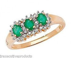 9ct Yellow Gold Real Emerald & Diamond Trilogy Ring (available in sizes G - Z )
