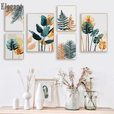 Wall Art Sets, Wall Art Decor, Landscape Walls, Living Room Pictures, Rooms Home Decor, Painting Frames, Spray Painting, Leaf Paintings, Pictures To Paint