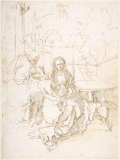 "Albrecht Durer (German, Nuremberg ""The Holy Family in a Trellis"" CA. pen and reddish brown ink Visual Metaphor, Principles Of Art, Albrecht Durer, Holy Family, Renaissance Art, Vintage Wall Art, Art Oil, Line Drawing, Cute Drawings"