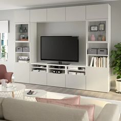 IKEA - BESTÅ, TV storage combination/glass doors, white, Lappviken light grey clear glass, The drawers have integrated push-openers so that you can open them with just a light push. Tv Wanddekor, Living Room Tv Unit Designs, Tv Wall Decor, Ikea Living Room, Living Rooms, Tv Wall Design, Wall Storage, Tv Storage Unit, Record Storage
