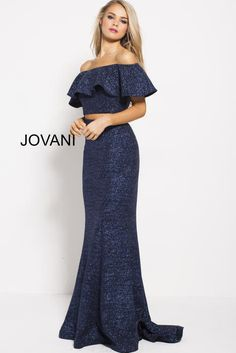 1f35bfce73 Jovani Prom 57258 Navy Fitted Two Piece Off the Shoulder Prom Dress 57258