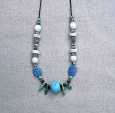 Your place to buy and sell all things handmade Unique Necklaces, Beautiful Necklaces, Turquoise Necklace, Beaded Necklace, Ancient Artefacts, Porcelain Jewelry, Ancient Jewelry, Ceramic Beads, Blue Beads
