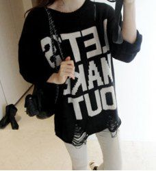 $12.50 Letters Jacquard Torn Hipster Plus Size Cotton Blend Color Matching Sweater For Women